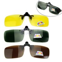 día noche gafas de sol al por mayor-Polarized Day Night Vision Clip-on Lentes Flip-up Gafas de sol Gafas de conducción Drop ship #