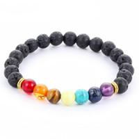 bracelets pour hommes balance en or achat en gros de-2018 Conception Hommes Bracelets Noir Lave 7 Chakra Guérison Équilibre Perles Bracelet Pour Hommes Femmes Strass Reiki Prières Pierres
