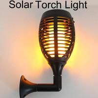 ingrosso torcia ip65-Solar Tiki Torch Lights LED Garden Impermeabile Cortile lampada da esterno Dancing Flame Flickering 96 LEDs Luci decorative IP65