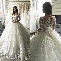 vestidos de noiva muçulmanos venda por atacado-2020 Luxo Lace Applique Mangas longas princesa vestidos de casamento Tribunal Trem elegante linha de Dubai muçulmana árabe vestidos de noiva baratos BC2546