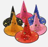 şapka karnavalı toptan satış-6 stilleri Cadılar Bayramı Yıldız Şapka Popüler Çocuk Cadı Şapka Karnaval Fantezi Topu Büyücü şapka Dans Kostüm Oyuncaklar Cadılar Bayramı Hediye FFA806 500 adet