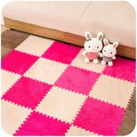 Wholesale foam puzzle mats - 30cm Puzzle Mat EVA Foam Shaggy Velvet Carpet Door Mat Jigsaw Play Mat Plush Fabric Carpet Area Rug Room Floor Mats 4pcs set Fre