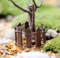 ingrosso scherma animale-Animali 50 pezzi in legno recinzione in legno palizzata in miniatura fata giardino casa case decorazione mini mestiere micro paesaggistica arredamento accessori fai da te