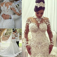Wholesale dubai wedding dresses for sale - Azzaria Haute Mermaid Long Sleeves Wedding Dresses Illusion Nigeria High Neck Appliqued Beaded Dubai Arabic Castle Wedding Gown