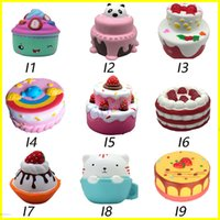 Wholesale Kids Squeeze Toy - Squishy cakes peach rabbit fox squishies Slow Rising 10cm 11cm 12cm 15cm Soft Squeeze Cute Cell Phone Strap gift Stress children toys DS