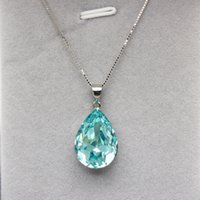 Wholesale swarovski water drop pendant necklace for sale - Group buy new necklace designs jewelry gift made with Swarovski elements crystal fashion water drop shape pendants with sterling sliver box chain