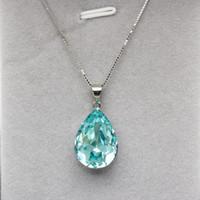 ожерелье с капюшоном оптовых-новые ожерелья конструируют подарок ювелирных изделий сделанный с элементами Swarovski кристаллическими кулонами формы капли воды способа с цепью коробки мычки стерлингового серебра 925