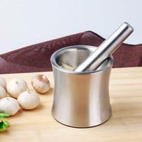 almofariz pilão de aço inoxidável venda por atacado-Moinhos de alimentos Moedor de Alho Prático de Aço Inoxidável Almofariz e Pilão De Cozinha Alho Moedores de Erva Moedor De Cozinha Tigela de Cozinha Ferramenta HH7-415