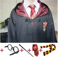 Wholesale white robe costume - Cosplay Costume Robe Cloak with Tie Scarf Ravenclaw Gryffindor Hufflepuff Slytherin for Adult Kids