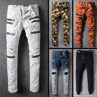 Wholesale top brand jeans - 2018 New famous brand men jeans top quality long biker jeans man fashion style plus size mens ripped pants
