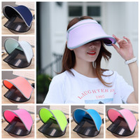 Wholesale wholesale golf hat clips - Women UV Protection Clip-On Wide Brim Sun Hat Cap with Retractable Visor anti-ultraviolet Outdoor Hat Adjustable size DDA449