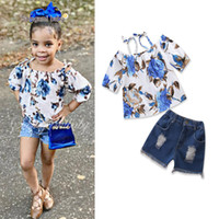 Wholesale babys girls - Vieeolove Ins Babys Kids Girls Clothing 2Sets 2018 New Summer Floral T-Shits Top Shorts Jeans Pants 2Sets Suit VL-1232