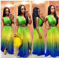 renk topları toptan satış-2016 Yeni Kademeli Değişim Renk Asılı Ve Boyama Derinlik V Baskı Kadınlar Için rahat Şifon Elbise Uzun Kollu Çalışma Parti Balo Elbiseler