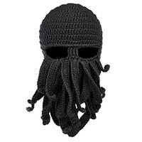 маска с осьминогами оптовых-Handmade Funny Tentacle Octopus Cthulhu Knit Beanie Hat Cap Wind Mask Men's Women's Knit Wind Mask Cap Halloween Animal Gift