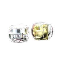 kosmetikglas verpackung gold großhandel-Leere Gläser achteckige Goldsilber-Acrylplastikkosmetische Creme-kleine Körperpflege-Behälter 5g 10g für Probenverpackung