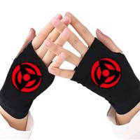 luvas de algodão tricotadas sem dedos venda por atacado-Moda Feminina Luvas De Malha Anime Naruto Uchiha Sasuke Kakashi Sharingan Luva de Algodão Sem Dedos Cosplay Luvas de Presente de Natal