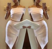 Wholesale one piece club wear - Sexy Short Two Pieces Party Dresses 2018 Satin Gowns Club One Shoulder Prom Dress Evening Graduation Dress Homecoming Robe De Soiree