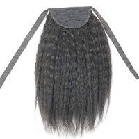 Wholesale premium remy human hair for sale - Group buy Human Hair Ponytail Extensions Drawstring quot Real Remy Premium G Kinky Straight Yaki Human Hair Hairpiece Binding Pony Tail