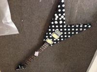 Wholesale guitar fly v online - Good Sound Randy Rhoads Tribute Polka dot Flying V electric guitar metal pickups rings