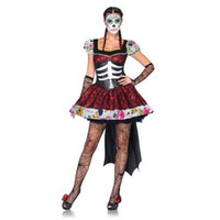 черный призрак костюм оптовых-Mexican Day of The Dead Horror Zombie Ghost Bride Costume Woman Cosplay Dress Black Witch Scary Skeleton Demon Haloween Dress