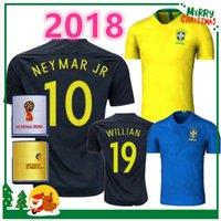 Wholesale Cup Teams - 2018 Brazil soccer jersey NEYMAR JR home away PELE OSCAR D.COSTA DAVID LUIZ top quality World Cup Brazil football soccer shirt national team
