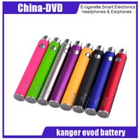 batterie violet e cig achat en gros de-Authentique Kanger Evod Batterie 510 eGo Fil 1000mAh E cig Batteries Noir SS Bleu Rouge Vert Orange Violet Rose 8 Couleurs 100% Kangertech