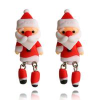 neue lehm ohrringe großhandel-Neue Jahr Geschenke Ohrstecker Schöne Weihnachtsmann Polymer Clay Ohrring Nette Ohrringe Frauen Mädchen Schmuck Weihnachtsgeschenke D450LR
