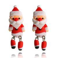 pendientes de arcilla al por mayor-Regalos de año nuevo Ear Stud Lovely Papá Noel Pendiente de arcilla de polímero Pendientes lindos Mujeres Niña Joyería Regalos de Navidad D450LR