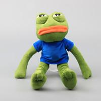 sapos de brinquedo recheado venda por atacado-42 cm de alta qualidade dos desenhos animados pepe triste sapo brinquedo de pelúcia macio stuffed toys para presente das crianças