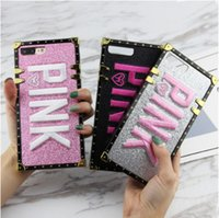 Wholesale Luxury Embroidery D Pink Letter Case Bling Glitter Metal Rivet Square Phone Cases For iPhone X s Plus Cover