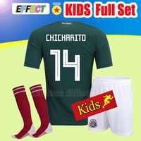 Wholesale youth mexico jersey - 2018 Mexico Kids Kit World Cup Soccer jersey Youth Child Boys CHICHARITO G.DOS SANTOS R.MARQUEZ O.PERALTA H.LOZANO full Football uniform
