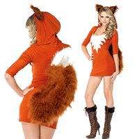 cosplay kıyafetler seksi toptan satış-Noel Kış Tema Kostüm Faux Kürk Hayvan Üniforma Cadılar Bayramı Peluş Sincap Kıyafetler Turuncu Seksi Karnaval Cosplay Tilki Kostüm