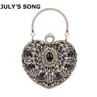 sac à main en strass achat en gros de-JULY'S SONG Strass Diamant Sac De Soirée Femmes Noir Coeur Sac À Main De Mariage De Noce Purse Dames Cristal Perle Jour Embrayage Y18103004