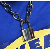 cerraduras para cadenas al por mayor-Collar de cadena unisex hecho a mano de las mujeres de los hombres collar de metal pesado resistente de la cerradura del candado de la cerradura