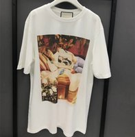 Wholesale fairies oil paintings - 2018 New Spring Mens Women Oil Painting Sleeping Beauty Short Sleeve T-Shirt Fairy Tale 3D HD Printed Round Collar Cotton Slim Top