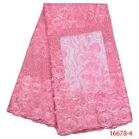 новые пароли оптовых-2018 Новый Африканский Кружевной Ткани Baby Pink Высокое Качество 3D Цветок Французский Чистая Свадьба Нигерия Вышитые Платье GD1667B-2