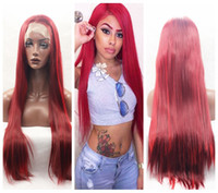 wine synthetic wig Australia - Top Sale Beautiful Burgundy Wine Long Silky Straight Wigs High Quality Heat Resistant Glueless Synthetic Lace Front Wigs for Black Women