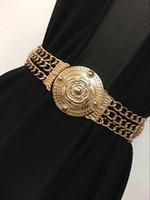 ingrosso cinghie metalliche elastiche di moda-2017 Fashion Wide Elastic Stretch Cinch Womens Webbin Metallo floreale Interlock fibbia cinture per il vestito femminile cappotto di pelliccia