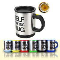 Wholesale self stirring coffee mug - 14oz Automatic Electric Self Stirring Coffee Mugs 6 Colors Tumblers Stainless Steel Drinking Cups With Lids