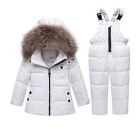 roupas de inverno casual para meninos venda por atacado-Jaqueta de Inverno de natal Crianças Snowsuit Baby Boy Girl Parka Casaco Para Baixo Casacos Para Meninas Criança Macacões Crianças Roupas Conjunto de Roupas