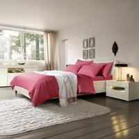 juego de cama de lujo rosa rosa al por mayor-Conjuntos de ropa de cama de lujo para bodas 100% algodón egipcio rosa rojo juegos de cama de color brillante cubierta rosa sábana tamaño queen