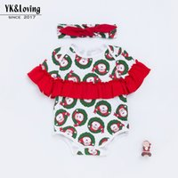 Wholesale 2018 New Pattern Fashion Christmas Fold The Leaves Edge Short Sleeve Overalls Children Garment Girl Baby Clothes