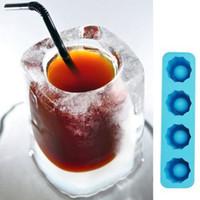 yenilik buz tepsileri toptan satış-Buz Küpü Tepsi Kalıp Yapar Shot Gözlük Buz Kalıp Yenilik Hediyeler Buz Tepsi Yaz Içme Aracı Cam Kalıp D0093