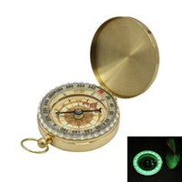 Wholesale Luminous Keychain - G50 Traditional Brass Metal Luminous Compass Pocket Antique Camping Hiking Portable Watch Compass Keychain Flip Noctilucence OOA4666