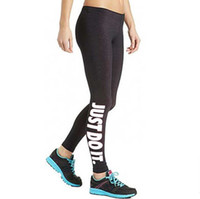 "Wholesale fitness black - Women's Sexy Leggings ""Just Do It"" Sport Girl Skinny Stretchy Pants Tight Fitting Elastic Slim Fitness Pencil Trousers"