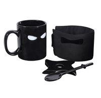 neuheit löffel großhandel-Kühle kreative Ninja Becher-Schwarz-Masken-Keramik-Schale mit Löffel-Schwert-Kaffee-Milch-Tee-Bechern Neuheits-Geschenke