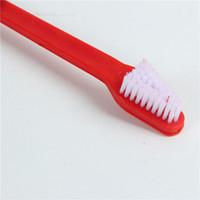 limpieza dental para perros al por mayor-100 unids perro creativo cepillo de dientes gato mascota cuidado dental lavado cepillo de dientes cachorro herramientas de limpieza dental dientes dobles cepillo de cabeza envío gratis