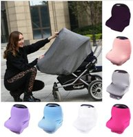 Wholesale used canopy resale online - 8 color Multi Use Baby Car Seat Cover solid color Infant Nursing Cover Baby Car Seat Canopy Cart Nursing Breastfeeding cover KKA6273
