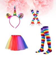 ingrosso guanti adatti-bambini tutu arcobaleno vestito partito principessa ballo dress s con unicorno corno fascia leggings calze guanti set bambini compleanno foto prop KKA4376