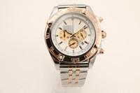 Wholesale discount sports watches for sale - Discount luxury brand watch CHRONOMAT series K rose gold rotating bezel white multi function dial quartz high quality quartz chronograph